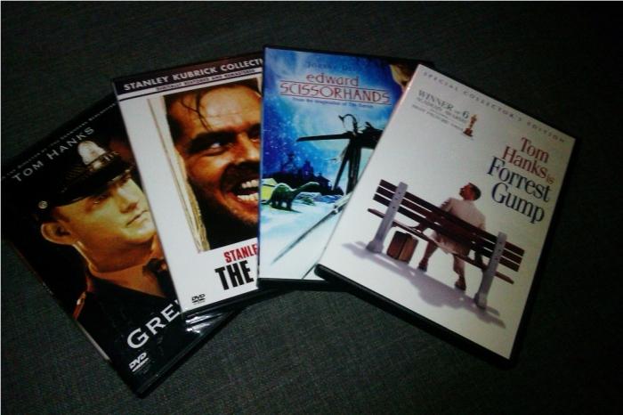 DVDs The Shining, The Green Mile, Forrest Gump, Edward Scissorhands
